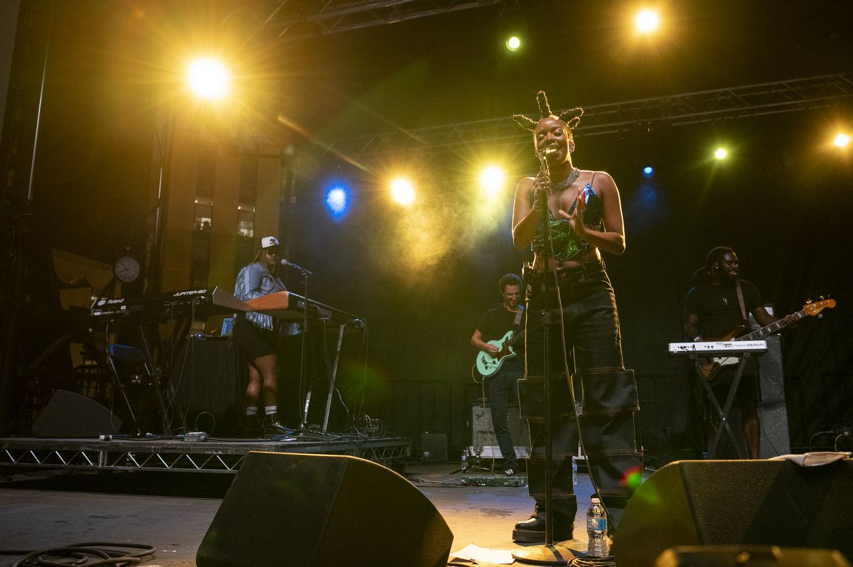 Jamila Woods performs at the Blue Stage at Pitchfork Music Festival at Union Park, Saturday, Sept. 11, 2021.
