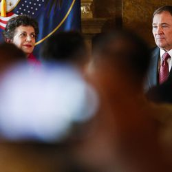 Gov. Gary Herbert looks on during a ceremony to celebrate the signing of a concurrent resolution affirming Utah's support for the religious and civil liberties of immigrants and refugees during a ceremony at the Capitol in Salt Lake City on Monday, April 17, 2017.