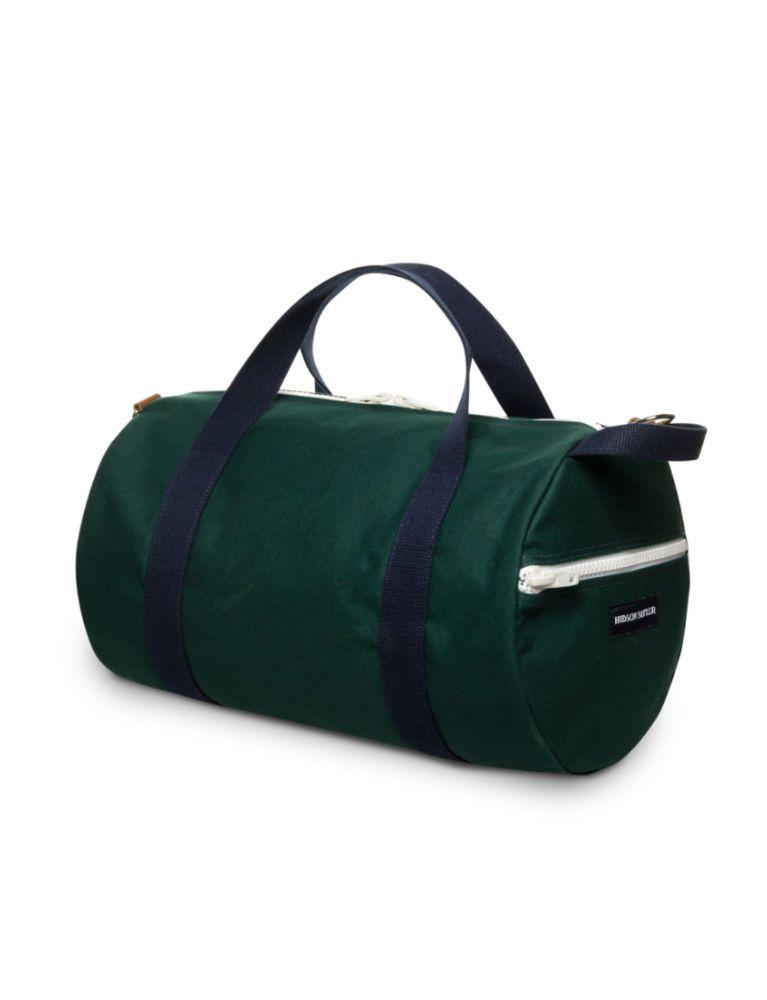 A green duffel bag