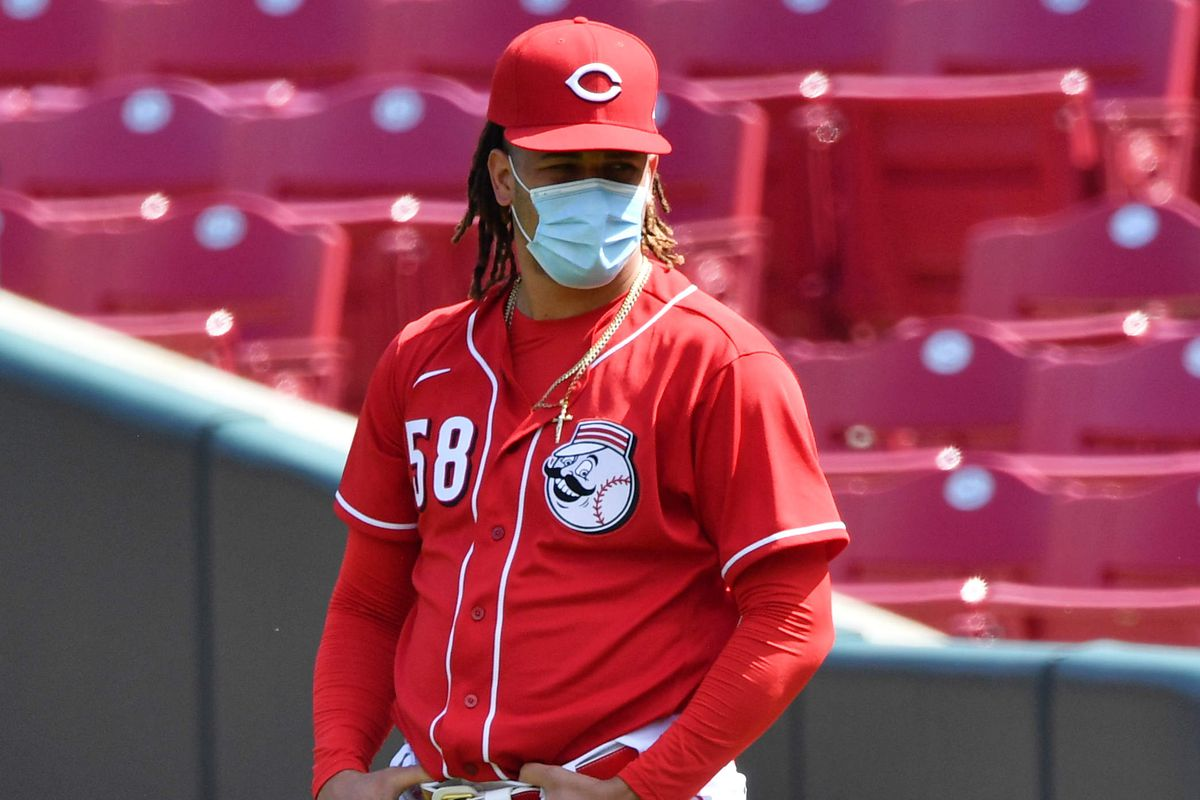 Luis Castillo #58 of the Cincinnati Reds warms up before an intrasquad game during summer workouts at Great American Ball Park on July 10, 2020 in Cincinnati, Ohio.