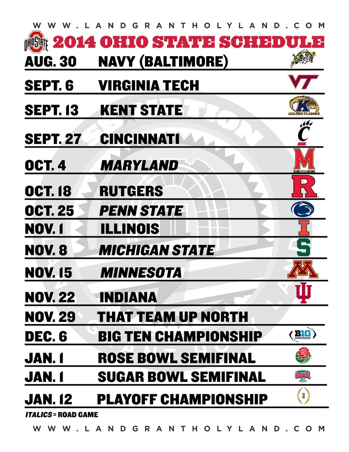 Ohio State 2014 printable schedule