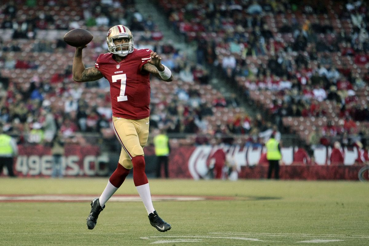 August 30, 2012; San Francisco, CA, USA; San Francisco 49ers quarterback Colin Kaepernick (7) throws the ball against the San Diego Chargers during the first quarter at Candlestick Park. Mandatory Credit: Kelley L Cox-US PRESSWIRE