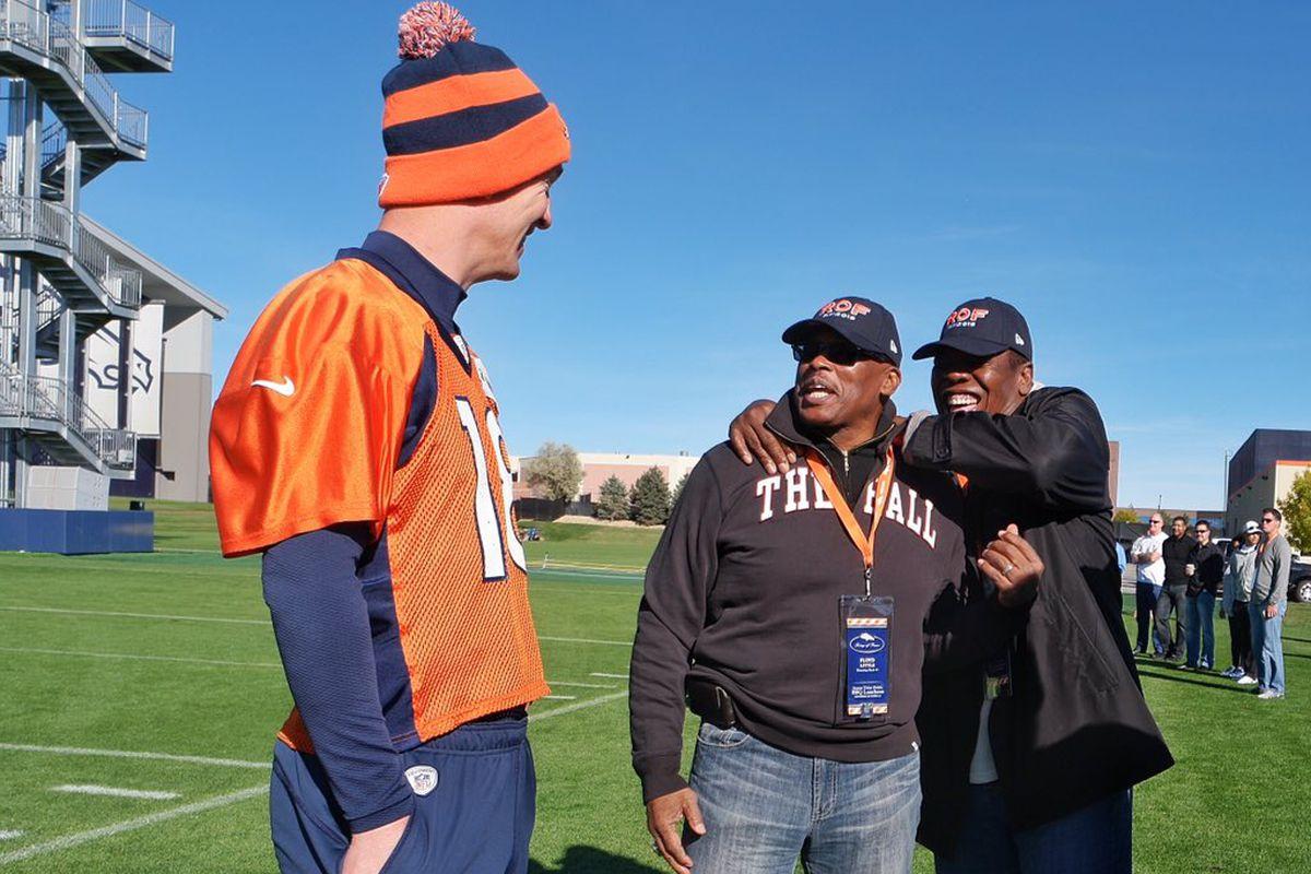 Three eras of Broncos football: Peyton Manning, Floyd Little, and Tom Jackson.
