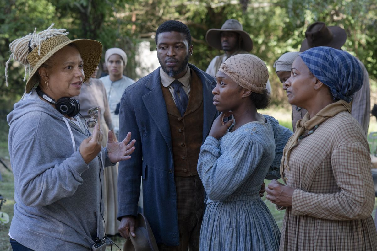 Director/co-writer Kasi Lemmons with actors Zachary Momoh (from left, as Harriet Tubman's husband, John), Cynthia Erivo (Harriet) and Vanessa Bell Calloway (Tubman's mother).