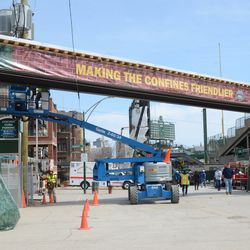 New decorative covers wrapping up the broadcast cable bridge -