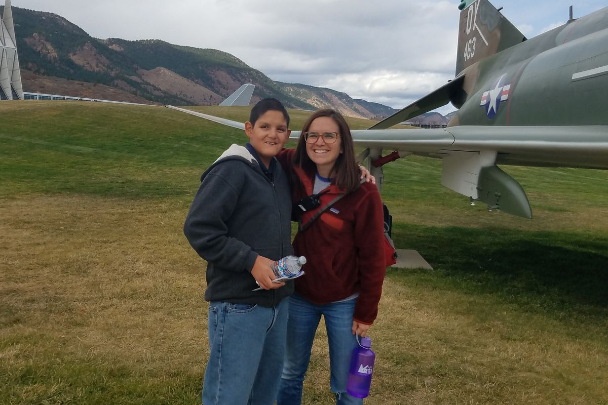 Wendi Sussman, a teacher at STRIVE Prep - Federal in Denver, with an eighth-grade student during a field trip to the Air Force Academy.