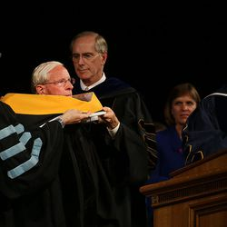 Dr. Donald Doty receives a degree of doctor of science and Christian service at commencement exercises at Brigham Young University in Provo on Thursday, Aug. 13, 2015.