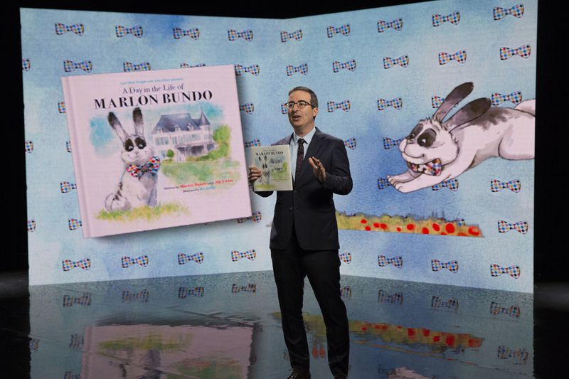 """John Oliver introduces a children's book about """"Marlon Bundo"""" in a segment on Vice President Mike Pence on the March 18, 2018 episode of Last Week Tonight."""