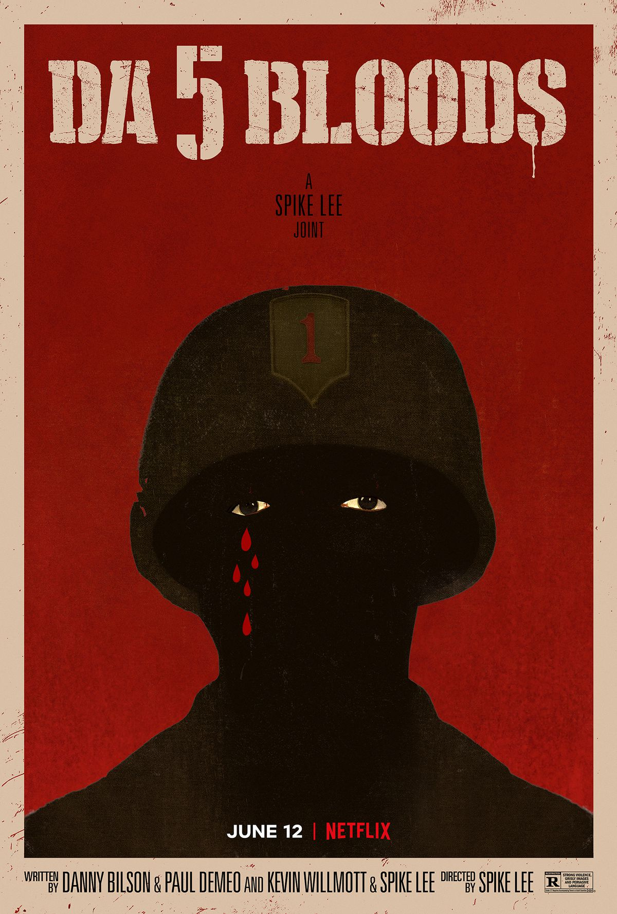 A poster of a black soldier wearing a helmet and crying tears of blood.