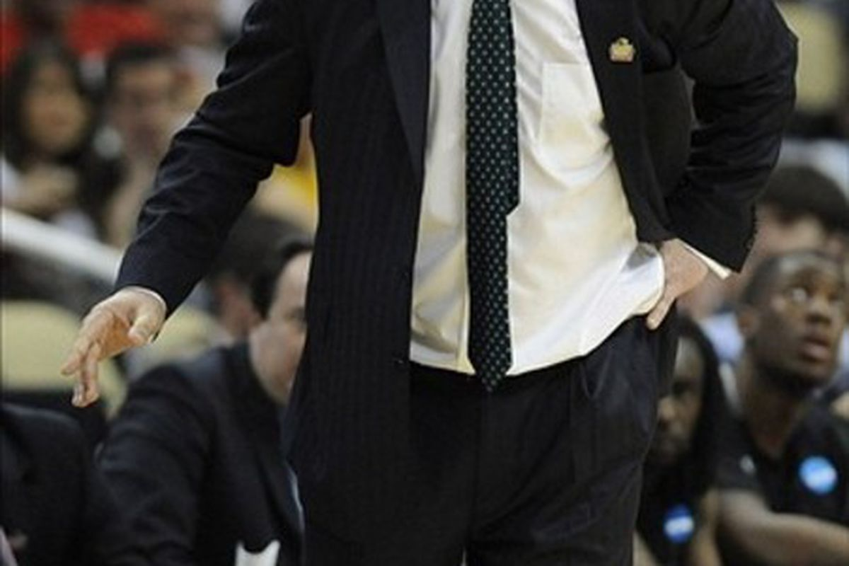 Mar 15, 2012; Pittsburgh, PA, USA; Loyola Greyhounds head coach Jimmy Patsos in the second round of the 2012 NCAA men's basketball tournament against the Ohio State Buckeyes at the CONSOL Energy Center.  Mandatory Credit: Richard Mackson-US PRESSWIRE