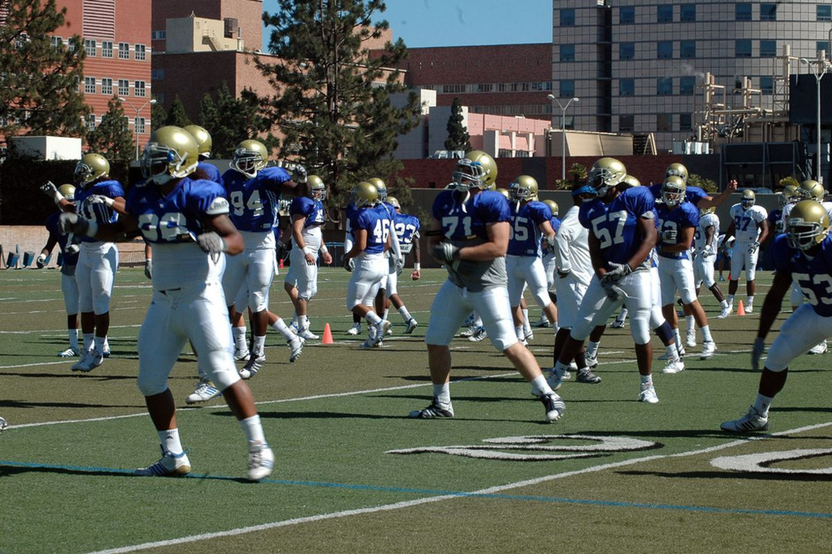 <em>The Blue team usually has the edge during scrimmages at UCLA. Photo Credit: Erkki Corpuz</em>