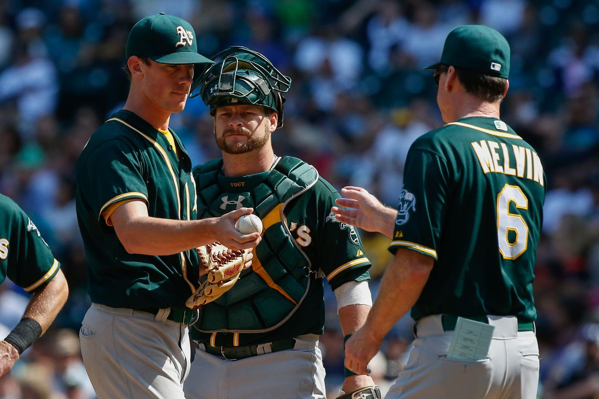 Chris Bassitt hands the ball to Bob Melvin in the fifth inning after a rough start to today's loss.