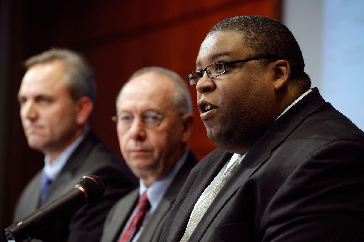 Former NHTSA administrator David Strickland speak into a microphone in Washington, D.C.