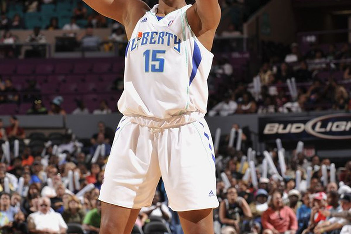 New York Liberty center Kia Vaughn didn't have the breakout regular season that the Liberty front office hoped for, but she stepped up big against the Indiana Fever. (Photo courtesy of the WNBA)