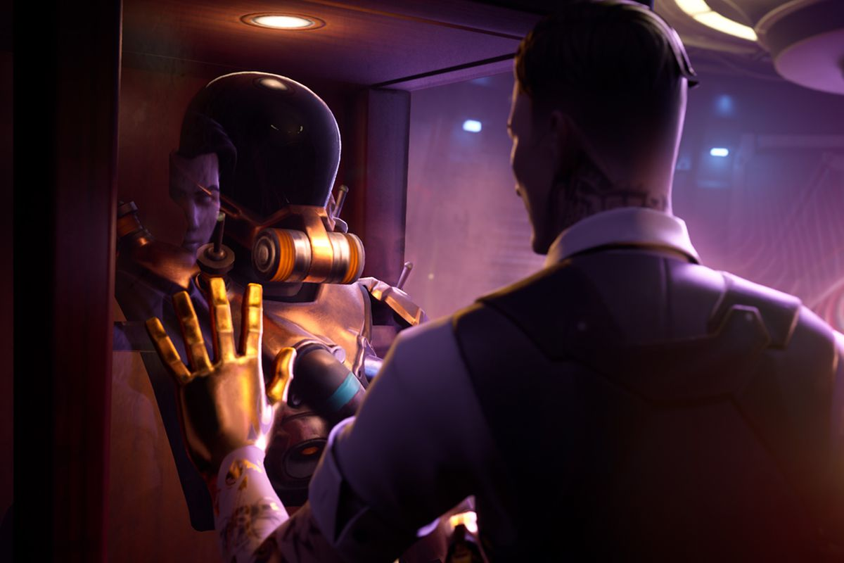 Fortnite's Midas stands looking at a diving suit with the Device behind him