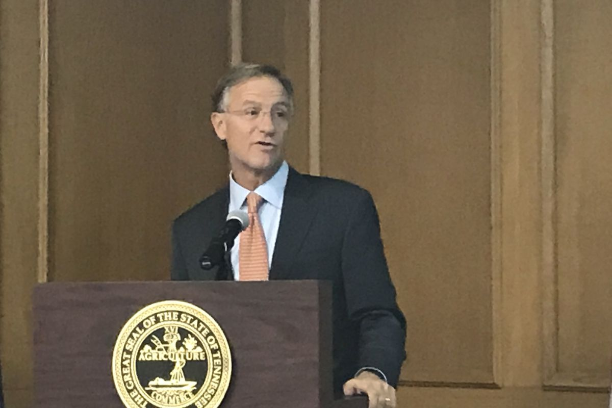 Gov. Bill Haslam gives brief remarks to reporters on Monday in advance of his annual State of the State address.