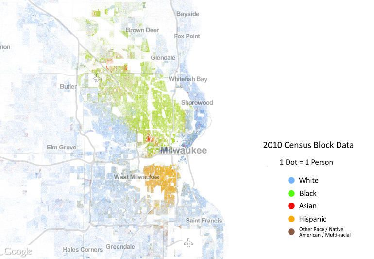 A map of racial segregation in the Milwaukee area.