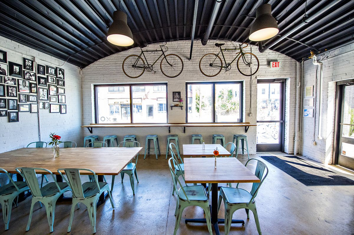A view from the counter inside Cafe and Velo.
