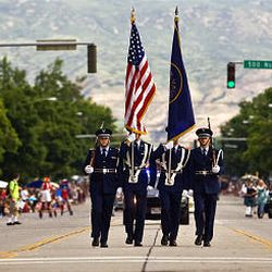 Members of the Air Force present the colors during the opening of the parade as part of America's Freedom Festival in Provo on Saturday.
