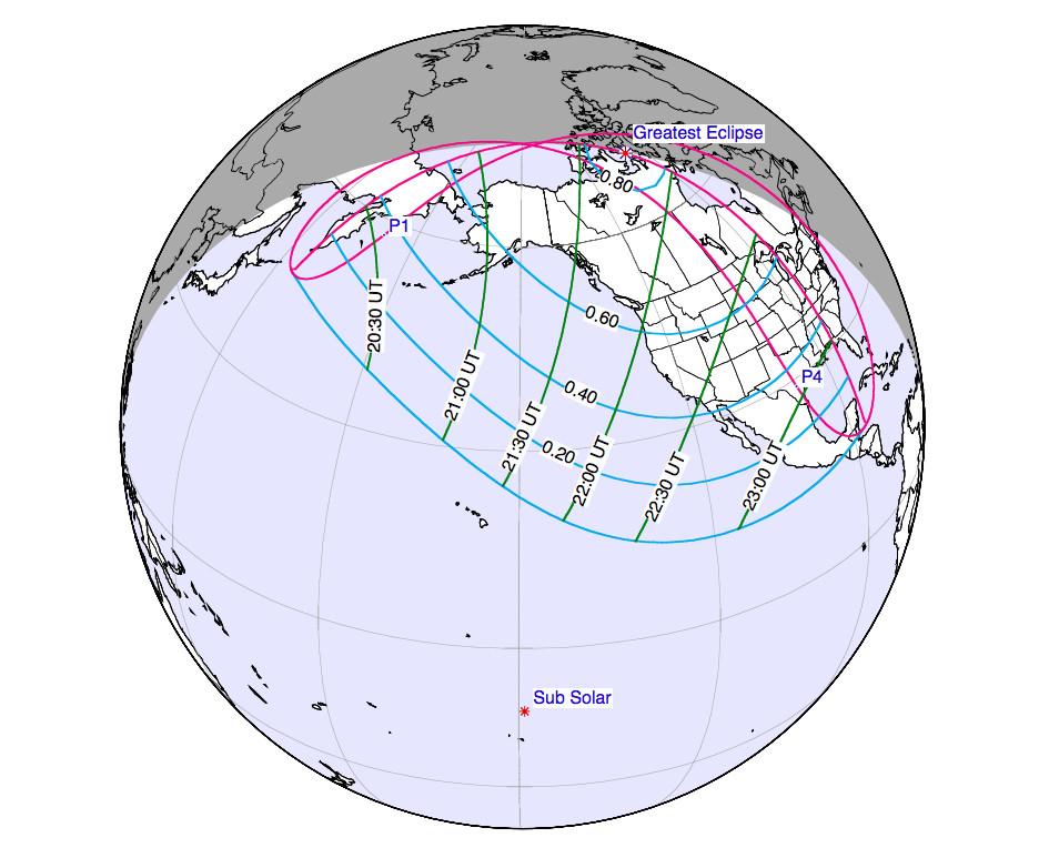 partial eclipse map