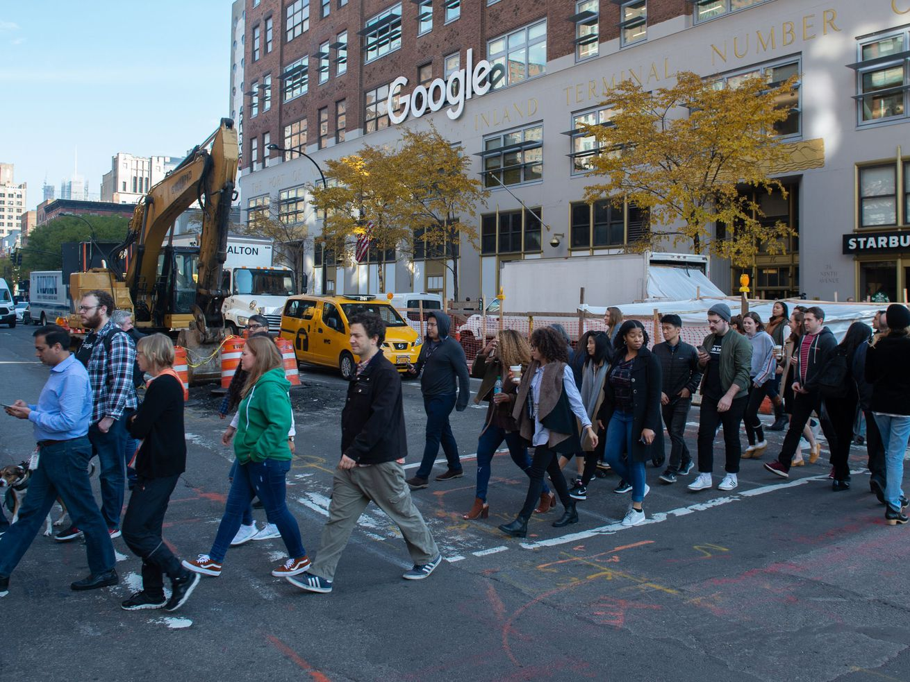 Google employees stage a walkout on Nov. 1, 2018, in New York, over how the company handles sexual harassment claims.