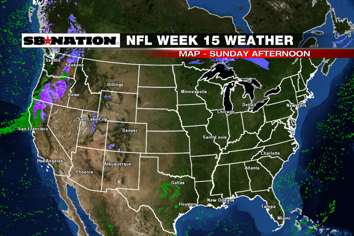NFL Weather Forecast Week  Rainy Weather For The West Coast - Us map weather forecast
