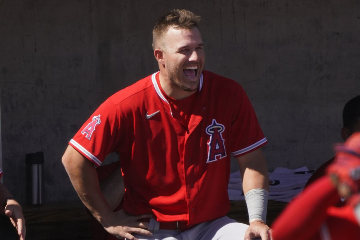 Los Angeles Angels center fielder Mike Trout reacts to a play during a spring training game against the Milwaukee Brewers at American Family Fields of Phoenix.