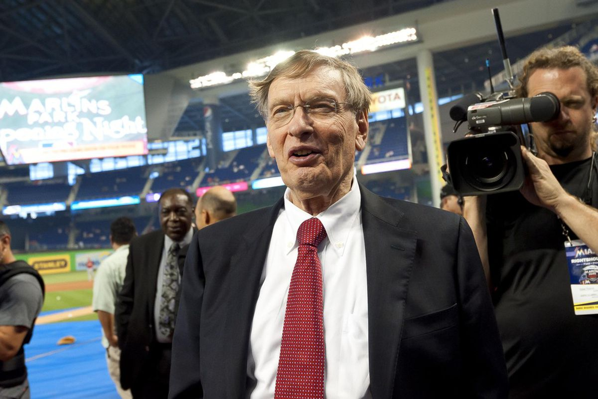 April 4, 2012; Miami, FL, USA; MLB commissioner Bud Selig in attendance before the opening day game between the St. Louis Cardinals and the Miami Marlins at Marlins Ballpark. Mandatory Credit: Steve Mitchell-US PRESSWIRE