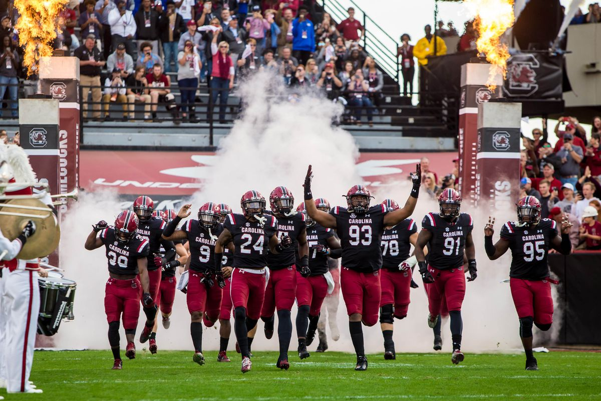 Nov 18, 2017; Columbia, SC, USA; South Carolina Gamecocks players make their 2001 entrance before the game against the Wofford Terriers at Williams-Brice Stadium. Mandatory Credit: Jeff Blake-USA TODAY Sports