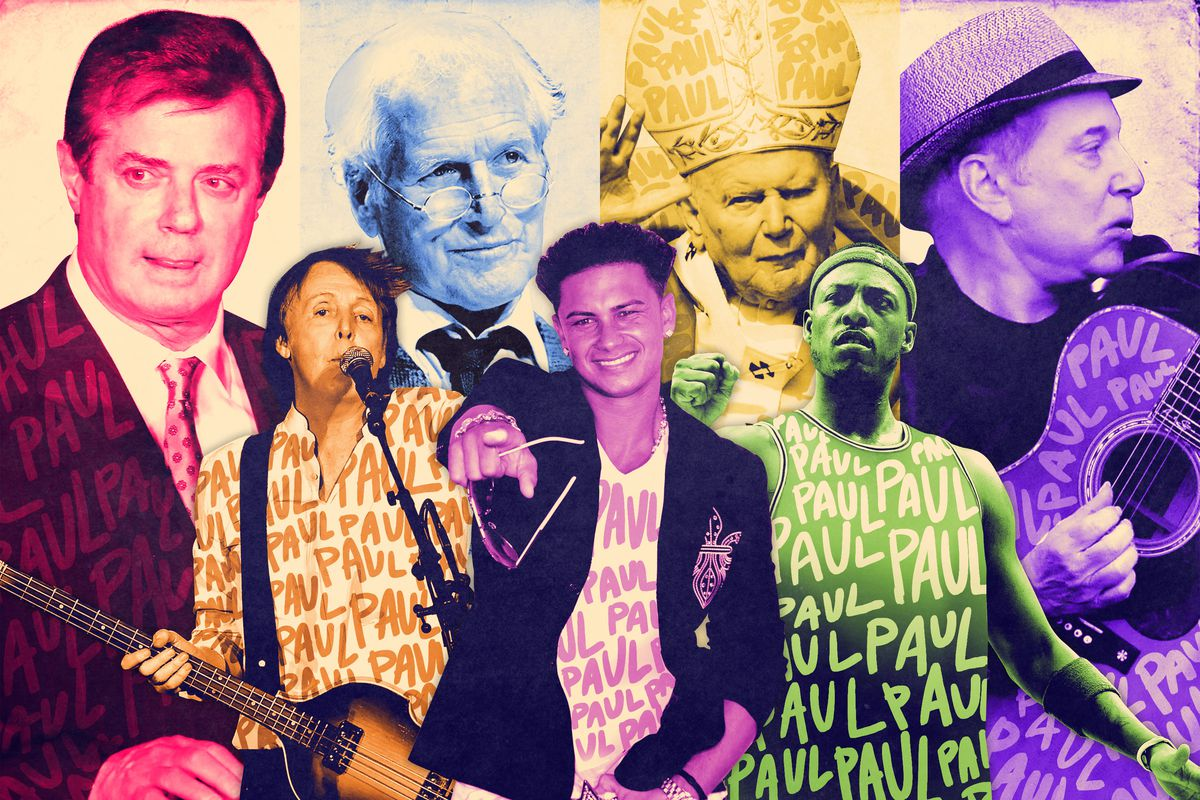 A collage of famous people named Paul, including Paul Simon, DJ Pauly D, Chris Paul, and Paul McCartney