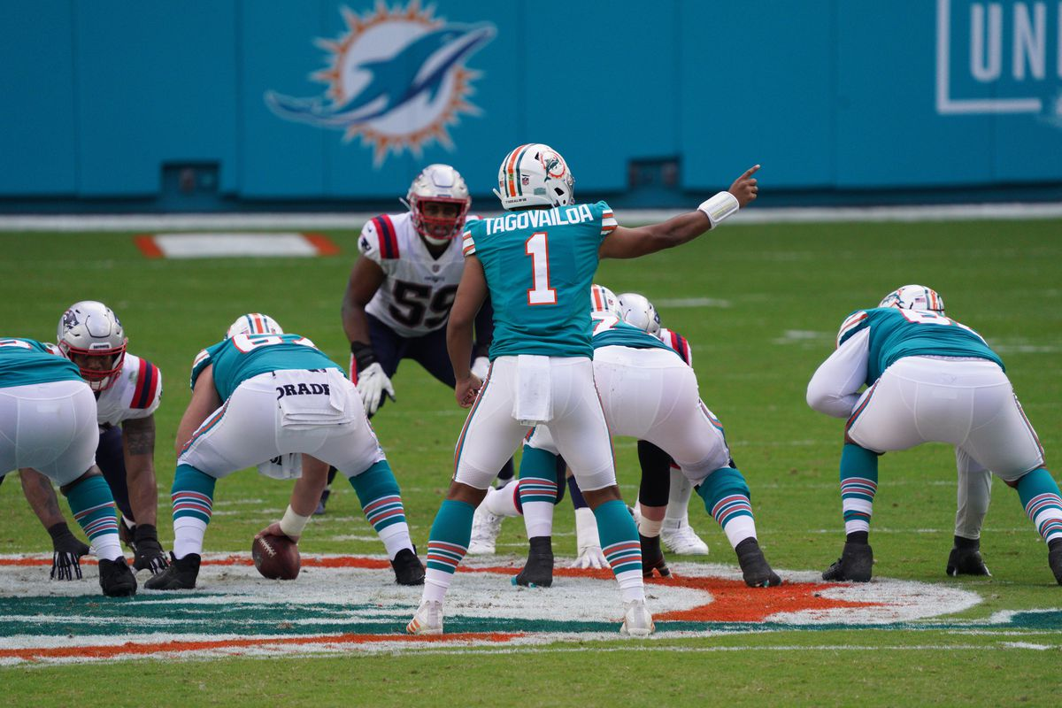 Tua Tagovailoa #1 of the Miami Dolphins in action against the New England Patriots at Hard Rock Stadium on December 20, 2020 in Miami Gardens, Florida.