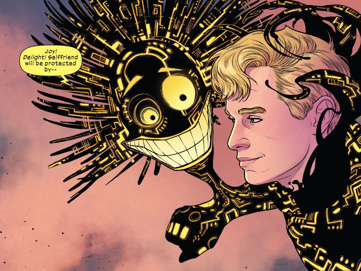 """The technological being Warlock, in the form of a powersuit around his friend/symbiotic partner Doug Ramsey, forms a big cartoonish head with wild hair, round eyes, and a giant grin budding off of Doug's arm. """"Joy! Delight! Selffriend will be protected by —"""" he says, in Giant-Size X-Men: Storm, Marvel Comics (2020)."""