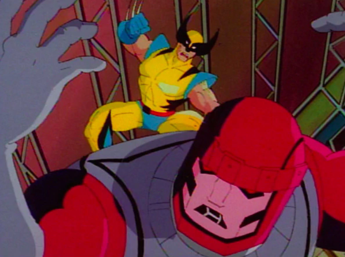 wolverine tries to slice a sentinel in x-men: the animated series
