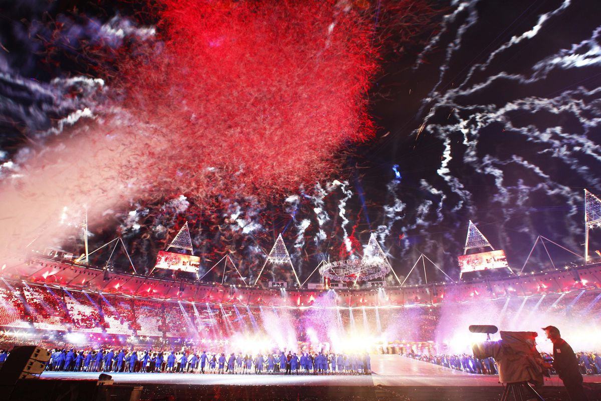 Aug 12, 2012; London, United Kingdom; Fireworks explode above Olympic Stadium during the closing ceremonies of the London 2012 Olympic Games. Mandatory Credit: Rob Schumacher-USA TODAY Sports