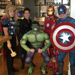 Kapnos Kouzina's Avengers including Richie Sladek, Kat Famoso, Mark Prysler, Medi Limami, and Tim Galvin.