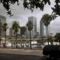 Cloudy skies and wind is prevalent in downtown Tampa but the worst of Hurricane Isaac past by the city where the Republican National Convention was scheduled to start Monday but was posponed till Tuesday.     Monday, Aug. 27, 2012