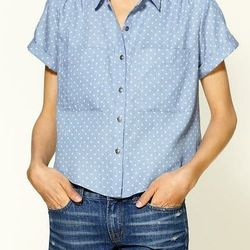 """<a href="""" http://piperlime.gap.com/browse/product.do?searchCID=4016&cid=4016&vid=1&pid=316807&scid=316807002""""> DV by Dolce Vita Martine Dot denim shirt</a>, $88 piperlime.com"""