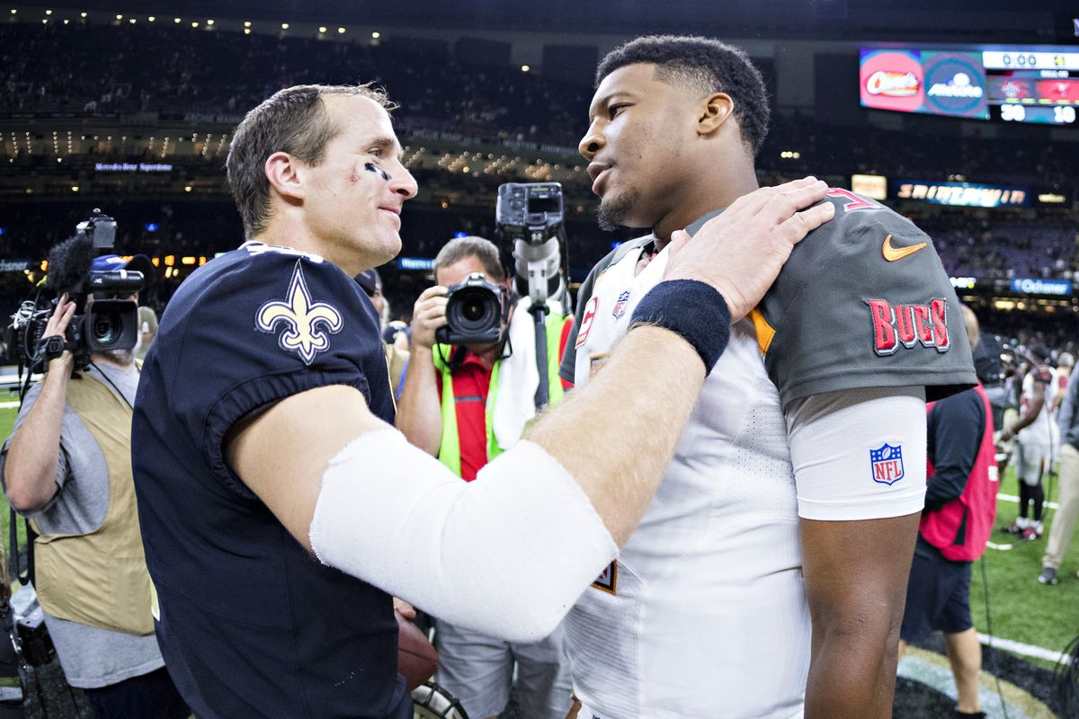 Drew Brees of the New Orleans Saints talks on the field after the game with Jameis Winston of the Tampa Bay Buccaneers at Mercedes-Benz Superdome on November 5, 2017 in New Orleans, Louisiana.