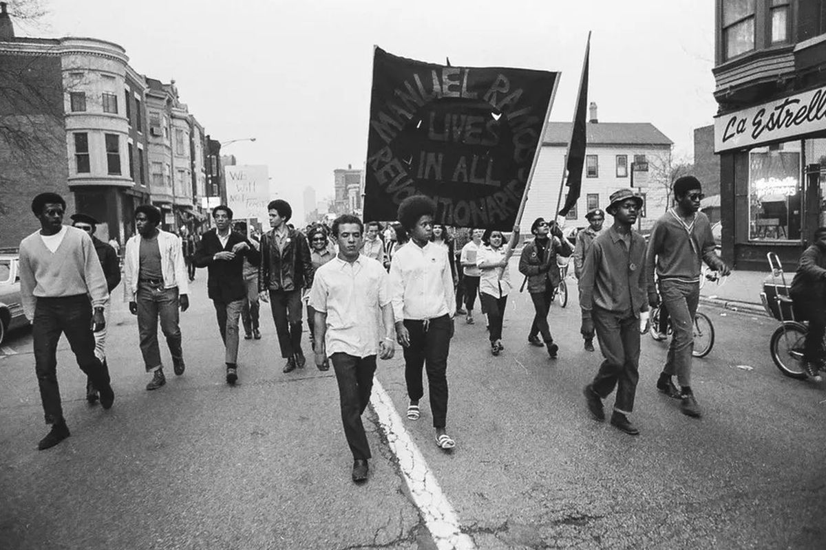 The Young Lords and others march in May 1969 to protest the killing of Manuel Ramos by an off-duty Chicago police officer.
