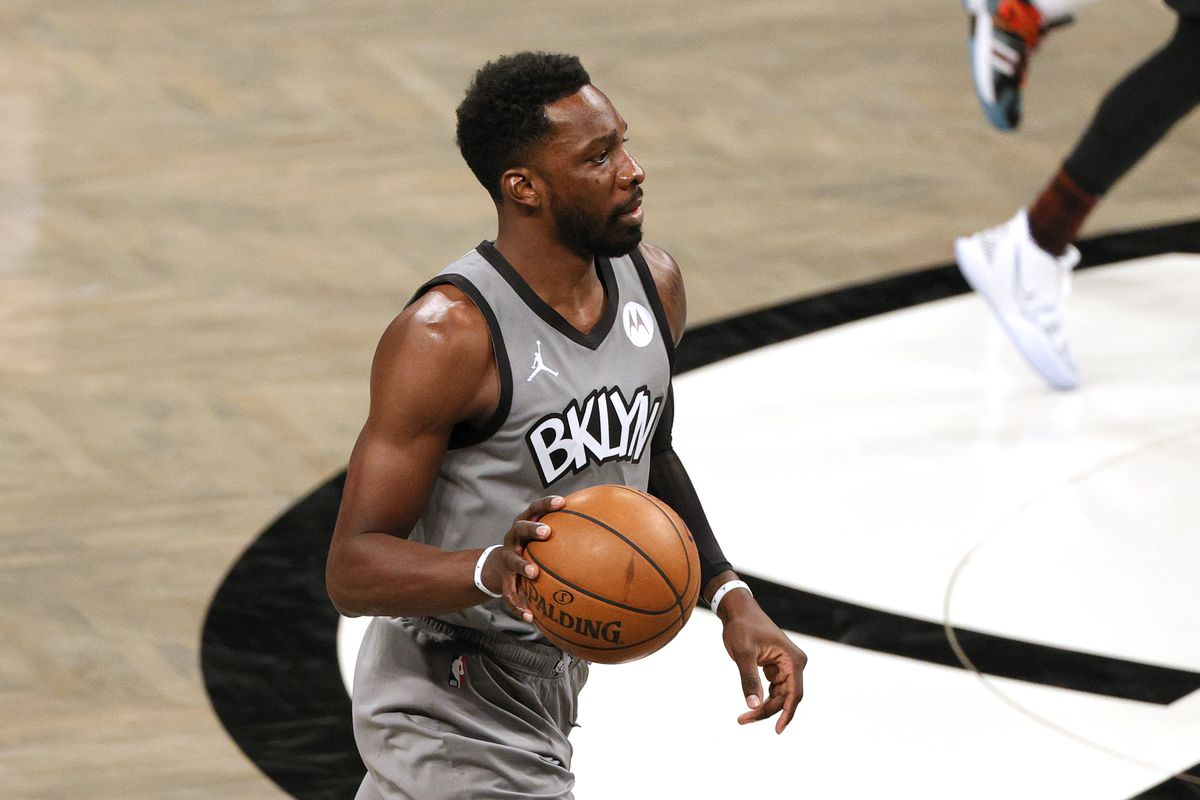 Jeff Green of the Brooklyn Nets dribbles during the second half against the Washington Wizards at Barclays Center on January 03, 2021 in the Brooklyn borough of New York City. The Wizards won 123-122.