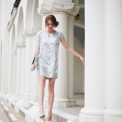 """Samantha of <a href=""""http://couldihavethat.blogspot.com/"""">Could I Have That? </a>is wearing a <a href=""""http://www.neimanmarcus.com/p/Rachel-Zoe-Mick-Sequin-Dress/prod155390550/?ecid=NMCIGoogleProductAds&ci_sku=prod155390550skuLTGREY&ci_gpa=pla&ecid=NMALRQ"""