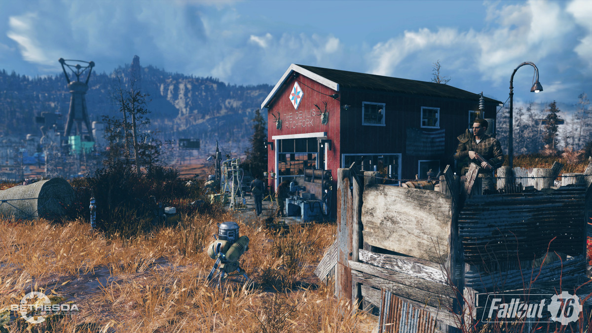 Fallout 76 - a barn/garage marked 'The Devil's Pitchfork'