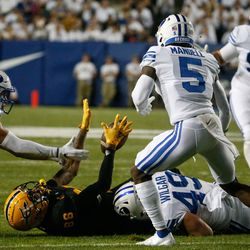 Arizona State tight end Curtis Hodges (86) gets pressed during an NCAA college football game against BYU at LaVell Edwards Stadium in Provo on Saturday, Sept. 18, 2021.