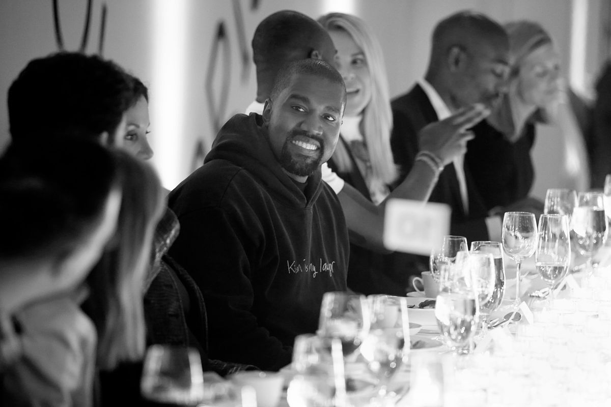 """Kanye West is all smiles at a celebratory dinner in honor of his friend Virgil Abloh for the premiere of the exhibit """"Virgil Abloh: 'Figures of Speech"""" at the MCA on June 6, 2019."""