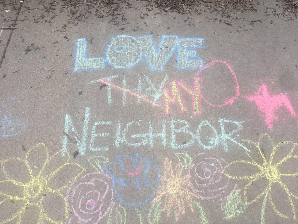 Chalk messages of love. | Mitch Dudek/Sun-Times