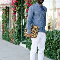 """<a href=""""http://la.racked.com/archives/2011/08/01/rod_at_melrose_and_spaulding.php"""" rel=""""nofollow"""">Rod</a>'s jeans are from H&M, the shirt is from J.Crew, the glasses are vintage Armani, the laptop case is from H.O.T, and his shoes are from A Bathing"""