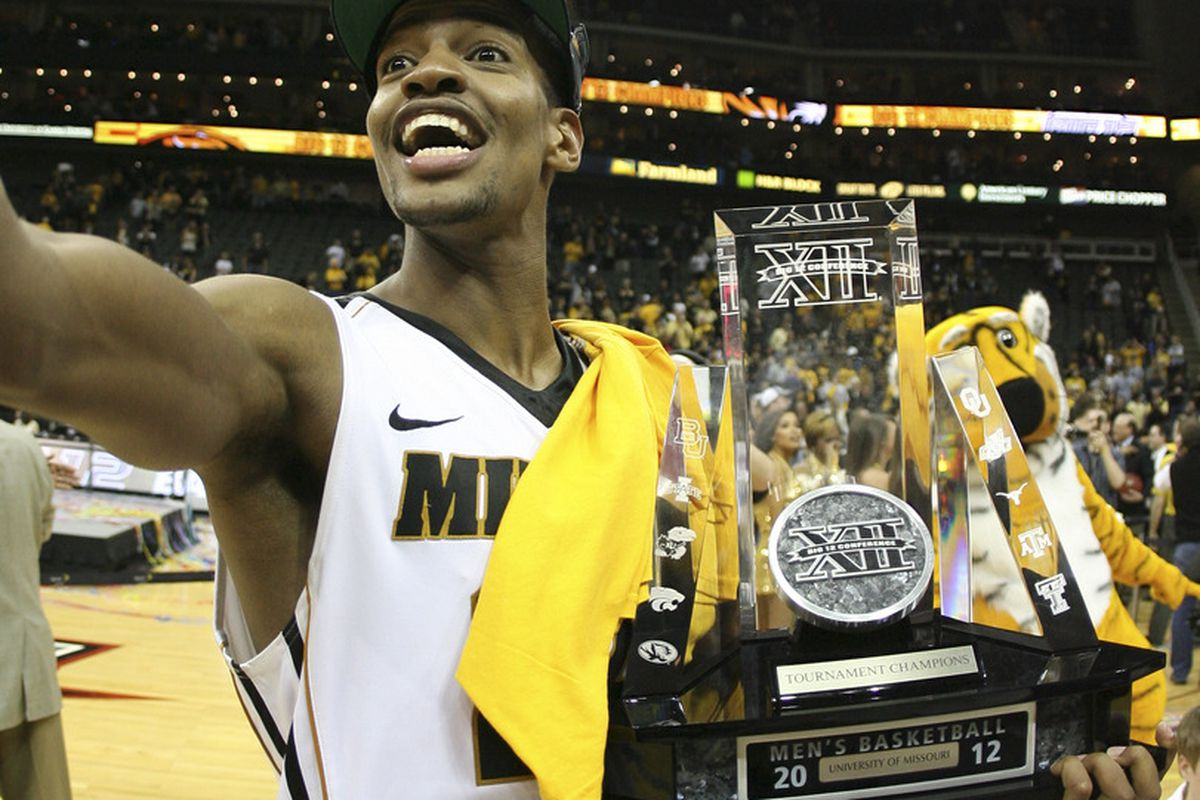 KANSAS CITY, MO - MARCH 10:  Kim English #24 of the Missouri Tigers celebrates after they defeated the Baylor Bears to win the Big 12 Basketball Tournament March 10, 2012 at Sprint Center in Kansas City, Missouri.  (Photo by Ed Zurga/Getty Images)