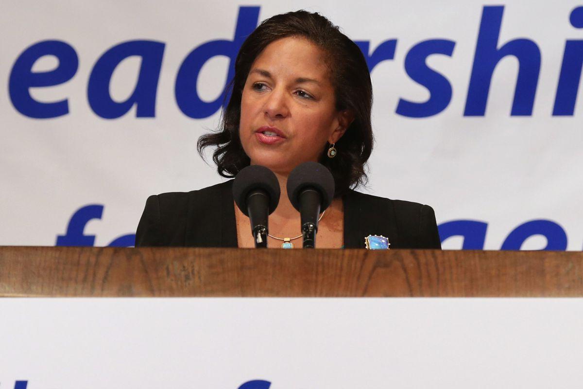 US National Security Advisor Susan Rice speaks to pro-Israel groups