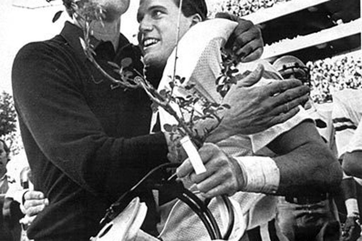 John Dewberry and Head Coach Bill Curry after defeating UGA between the hedges.