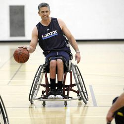 Jeff Griffin races down the court to the other basket during practice with his teammates at Salt Lake Community College's Lifetime Activities Center on Feb. 20.